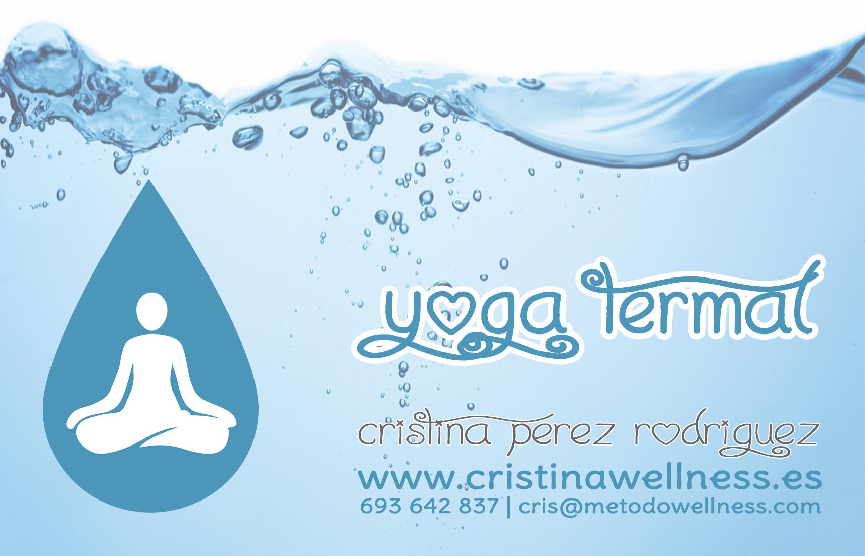 yoga termal tarjeta frontal letras azul